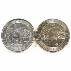 2015 & 2016 Canada 1.25oz .9999 Fine Silver Bison Coins (toned) 2pcs (Tax Exempt).