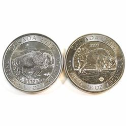 2015 & 2016 Canada 1.25oz .9999 Fine Silver Bison Coins (toned) 2pcs (Tax Exempt).