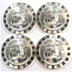 Lot of 4x Silvertowne 1oz .999 Fine Silver Rounds. 4pcs (Tax Exempt).