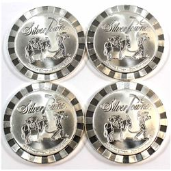 Lot of 4x Silvertowne 1oz .999 Fine Silver Rounds. 4pcs (Tax Exempt).