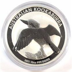 2011 Australia 10oz .999 Fine Silver Kookaburra in Capsule (coin lightly toned & capsule scratched)