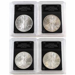 1993, 1998, 2000 & 2001 1oz .999 Fine Silver American Eagles in Hard Black Plastic Holders (toned).