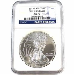 2013 1oz .999 Fine Silver American Eagle NGC Certified MS-70 Early Releases (Tax Exempt).