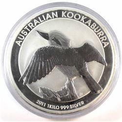 2011 Australia 1 Kilo .999 Fine Silver Kookaburra in Capsule (coin lightly toned & capsule scuffed)