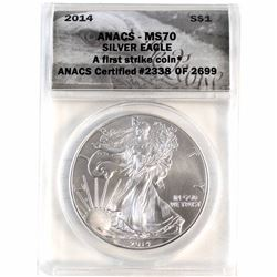 2014 1oz .999 Fine Silver American Eagle ANACS Certified MS-70 First Strike (Small toning spot) TAX