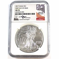 2017 1oz .999 Fine Silver American Eagle NGC Certified MS-70 First Day of Issue (Tax Exempt).