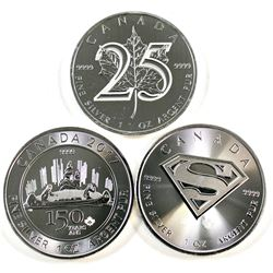 Lot of 2013-2017 Canada Fine Silver Coins - 2013 25th Anniversary of the Maple, 2016 Superman & 2017