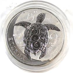 2015 Niue 2oz $5 Turtle .999 Fine Silver Coin in Capsule (obverse lightly toned). TAX Exempt