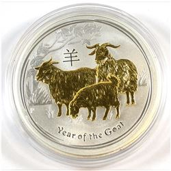 2015 Australia 1oz .999 Fine Silver Gilded Year of the Goat (capsule lightly scratched, coin is fine