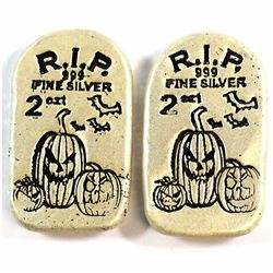 2x Monarch Precious Metals Limited Edition Glow-in-the-Dark Jack o' Lantern Tombstone 2oz. .999 Fine