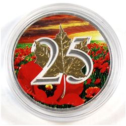 2013 Canada 1oz .9999 Fine Silver Coloured 25th Anniversary Maple Leaf (capsule lightly scratched).