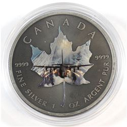 2015 Canada 1oz .9999 Fine Silver Antiqued & Airplane Coloured Maple Leaf (Tax Exempt).