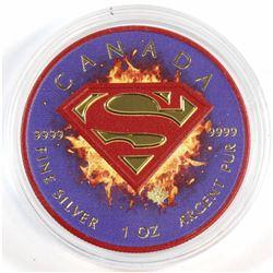 2016 Canada 1oz .9999 Fine Silver Superman Coloured & Gold Plated Maple Leaf (capsule is scuffed) TA