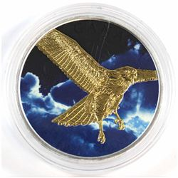 2015 Canada 1oz .9999 Fine Silver Hawk Coloured & Gold Plated Maple Leaf (capsule is scratched) TAX