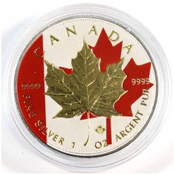 2014 Canada 1oz .9999 Fine Silver Canada Flag Coloured & Gold Plated Maple Leaf (Tax Exempt).