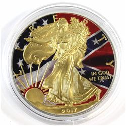 2017 USA 1oz .999 Fine Silver American Flag Coloured & Gold Plated Eagle (capsule lightly scratched)