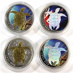 Lot of 4x Different 2013 Fiji Taku Turtle Coloured, Gold Plated and Holographic .999 Fine Silver Coi