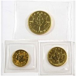 2014 1/4oz, 1992 1/10oz & 1993 1/20oz Canada Fractional Gold Maple Leafs Sealed in Plastic. 3pcs (Ta