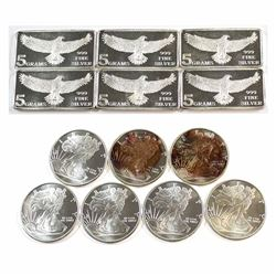 Lot of Fractional .999 Fine Silver Pieces - 7x 1/4oz Walking Liberty & 5x Monarch Precious Metals 5