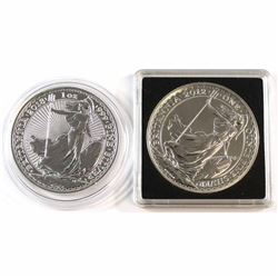 2012 & 2018 Great Britain 1oz .999 Fine Silver Britannia's in Capsules. 2pcs (Tax Exempt).