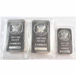 Lot of 2x 5oz & 1x 1oz Sunshine Minting .999 Fine Silver Bars Sealed in Plastic. 3pcs (Tax Exempt).