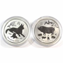 Australia 2018 Year of the Dog & 2019 Year of the Pig 1oz .999 Fine Silver Coins in Capsules (capsul