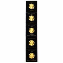 Strip of 5x 2018 Canada 1 Gram Gold Maple Leafs in Hard Plastic Holders. 5pcs (Tax Exempt).