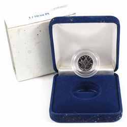 1993 Canada 1/10oz .9995 Fine Platinum Maple Leaf in Blue Display Box with Sleeve (Tax Exempt).