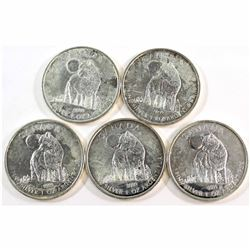 Lot of 4x 2011 Canada $5 Wildlife - Wolf 1oz .9999 Fine Silver Maple Leafs (coins are toned and scra