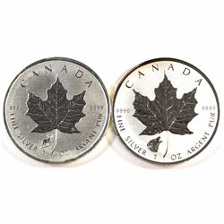 2015 Sheep & 2016 Wolf Privy Marks Canada 1oz .9999 Fine Silver Maple Leafs (lightly toned) 2pcs (Ta