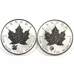 2016 Yin Yang & 2017 Moose Privy Marks Canada 1oz .9999 Fine Silver Maple Leafs. 2pcs (Tax Exempt).