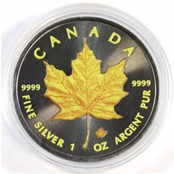 2016 Canada 1oz .9999 Fine Silver Coloured & Ruthenium Plated Yellow Maple Leaf (capsule lightly scr