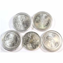 Lot of 5x Silver Shield 1oz .999 Fine Silver Rounds. You will receive 2013 Cannabis, 2x 2013 Come an