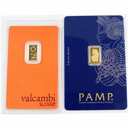 Pamp Suisse & Valcambi Suisse 1 gram Fine Gold Bars in Protective Holders. 2pcs (Tax Exempt).