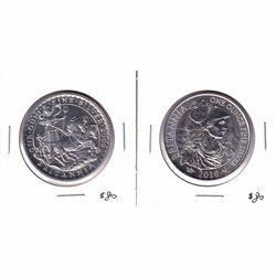 2009 & 2010 Great Britain 1oz .999 Fine Silver Britannias (lightly toned). 2pcs (Tax Exempt).