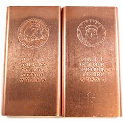 2011 USA 1 Kilo .999 Fine Copper Eagle & Liberty Design Bars. 2pcs (Tax Exempt).