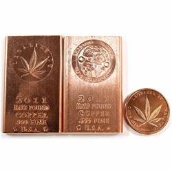 Lot of 3x .999 Fine Copper Pieces - Half Pound Legalize It, Half Pound Shroomin & 1oz Legalize It. 3