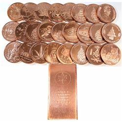 2011 USA .999 Fine Copper 1 Kilo Maple Leaf Design & 25x 1oz Copper Rounds All Different Designs. 26