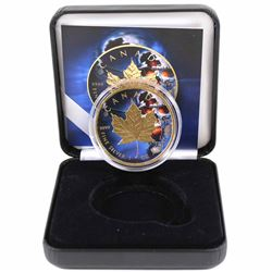 2018 Canada 1oz .9999 Fine Silver Maple Coloured & Gold Plated Skull Design in Smitty Treasures Blac