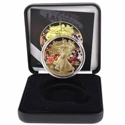 2015 USA 1oz .999 Fine Silver Eagle Coloured & Gold Plated Casino Design in Smitty's Treasures Black