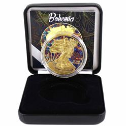 2018 USA 1oz .999 Fine Silver Eagle Coloured & Gold Plated Bohemia Design in Smitty's Treasures Blac