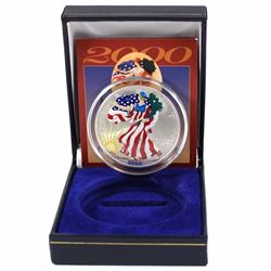 2000 USA 1oz .999 Fine Silver Eagle Colourized Encapsulated in American Historic Society Display Box