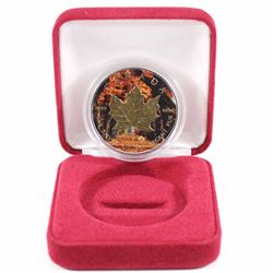2016 Canada 1oz .9999 Fine Silver Maple Coloured & Gold Plated Encapsulated in Red Display Box (caps