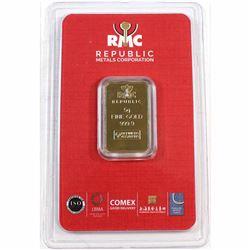 RCM Republic 5 Gram .9999 Fine Gold Bar in Sealed Plastic Holder (Tax Exempt).