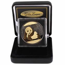 2015 China 10 Yuan 1oz .999 Fine Silver Panda Ruthenium & Gold Plated Coin in Golden Enigma Display