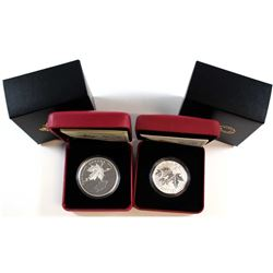 2015 Canada $10 Maple Leaf & $20 Maple Leaf Reflection Fine Silver Coins (Tax Exempt). 2pcs.