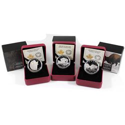 2014 Canada $20 The Bison: A Portrait, Family at Rest, & The Fight Fine Silver Coin Collection (Tax