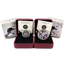 2012 Canada $1 25th Anniv. of the Loonie & Two Loons Fine Silver Coins (Tax Exempt). 2pcs.