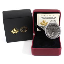 2016 Canada $25 140th Anniv. of the Library of Parliament Fine Silver Coin (Tax Exempt).