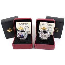 2014 Canada $10 Wait for Me, Daddy & 70th Anniv. of D-Day Fine Silver Coins (Tax Exempt). 2pcs.